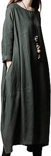 [セカンドルーツ] コクーン リネンワンピ ロング丈 2ワンピース 長袖 チュニック バルーン Aライン レディース リネンコクーンロングOP M~2XL