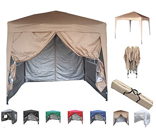 mcc direct Premier 2x2m Waterproof Pop-up Gazebo with Silver Protective Layer Marquee Canopy (WS) (Beige)