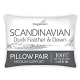 Snuggledown Duck Feather & Down White Pillows 2 Pack Medium Support...