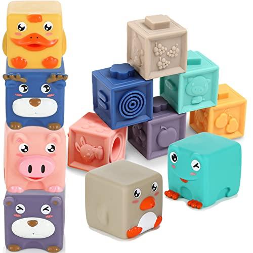 12 Stück Baby Bausteine Spielzeug-Weiche Quetschbare Blöcke zum Sortieren und Stapeln, Tiere und Zahlen Montessori Badespielzeug, Pädagogische Motorik Bauklötze oder Beißring für Babys