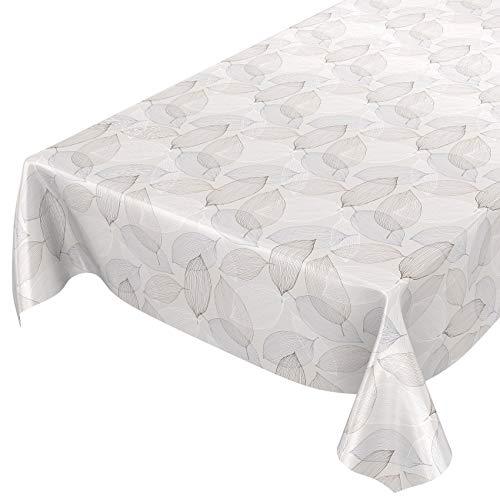 ANRO Wachstuchtischdecke Wachstuch Wachstischdecke Tischdecke abwaschbar Abstrakt Stimmung Laub Grau 200 x 140cm
