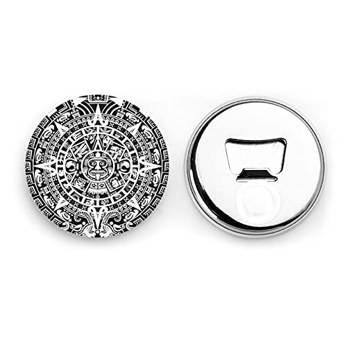 Mayan Calendar End of The World Round Bottle Openers/Fridge Magnets Stainless Steel Corkscrew Magnetic Sticker 2 Pcs