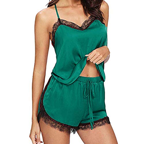 Mujer Ropa De Dormir Conjuntos De Ropa Interior De Encaje Sexy Ropa De Dormir Mujeres Pijama Cami Conjuntos Superiores Pantalones Cortos-Green_XL