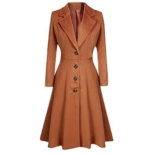 Abrigo largo para mujer con botón de solapa de invierno para mujer