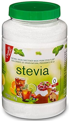 Stevia et Érythritol Édulcorant 1:1 - Granulé - Substitut de Sucre 100 % Naturel - Fabriqué en Espagne - Keto et Paleo - Castello since 1907 (1g = 1g de Sucre (1:1), Pot de 1 kg)