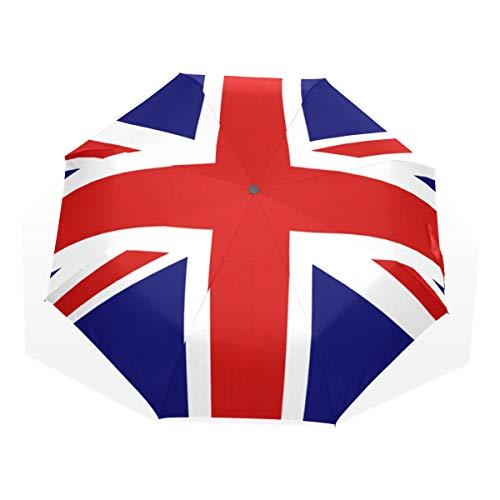 Isaoa Automatique Voyage Parapluie Pliable Compact Parapluie l'Union Jack Coupe-Vent Ultra léger...