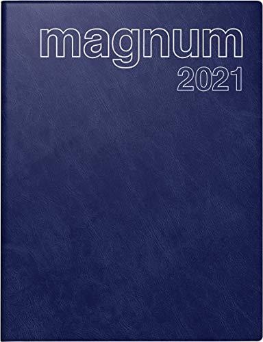 rido/idé 7027042381 Buchkalender magnum, 2 Seiten = 1 Woche, 183 x 240 mm, Schaumfolien-Einband Catana dunkelblau, Kalendarium 2021