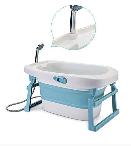Luxus Whirlpool, Sprudel Spa & Dusche, Portable Safe und Sturdy zusammenklappbare Baby-Badewanne (Color : Blue)