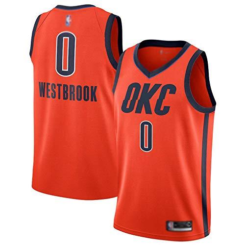 WWSC Jersey # 0 Russell Westbrook Fans Trikot Thunder Weste, Jungen Herren Basketball Uniform, Playoff Rewards Version Feine Stickerei HemdSportbekleidung Orange-A_M_Partygeschenk