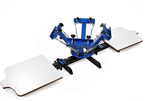 SHZOND Screen Printing Press 4 Color 2 Station Silk Screen Machine 21.7' x 17.7' Removable Pallet Screen Printing Machine Press for T-Shirt DIY Printing (4 Color 2 Station)