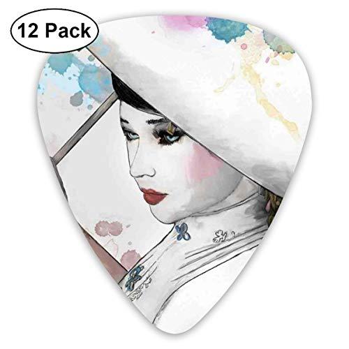 Gitaar Picks12 stks Plectrum (0.46mm-0.96mm), Oosterse vrouw meisje met oosterse paraplu tekening met aquarel penseelstreken, voor uw gitaar of Ukulele