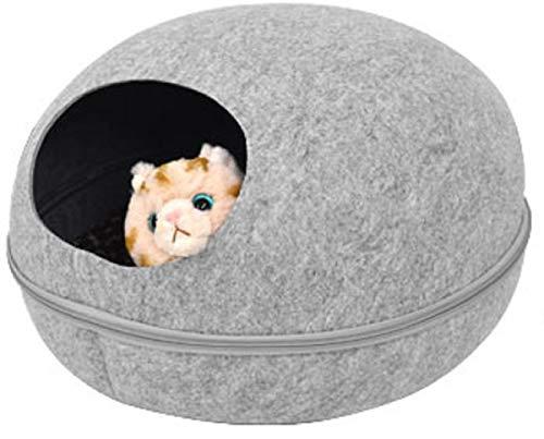 PLATA キャットハウス 2WAY フェルトポッド オールシーズン対応 猫ベッド お昼寝 ベッド ドーム型 Cat House 中を覗ける 可愛い小窓付 【 Lサイズ グレー 】