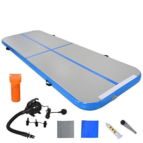 HOMCOM Airtrack Tapis de Gymnastique Gonflable dim. 300L x 100l x 10H cm Tissu stratifié PVC Bleu