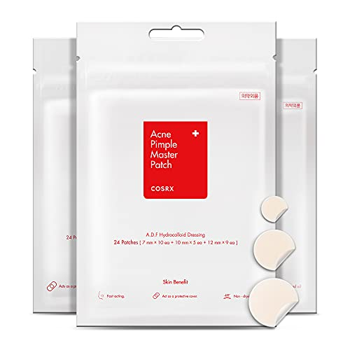 COSRX Acne Pimple Master Patch 72 Patches (3 Packs of 24 Patches) | A.D.F. Hydrocolloid Dressing | Quick & Easy Treatment