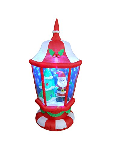 BZB Goods 6 Foot Tall Lighted Christmas Inflatable Lantern with Santa and Tree LEDs Yard Decoration