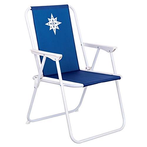 LOLAhome Silla de Playa Fija Azul Marino de Lona de 75x46x53 cm