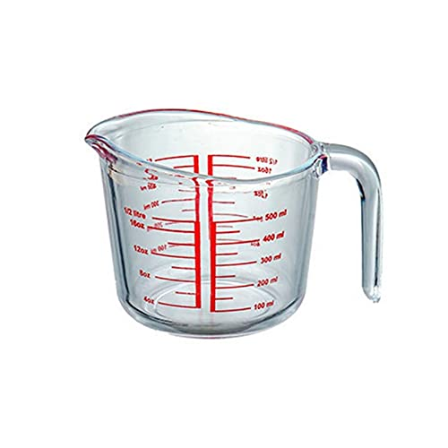 XIN NA RUI Pyrex Jug 1pc tempered glass measuring cup with scale milk cup microwave oven special heat-resistant glass milk cup juice glass water cup (Color : 500ml)