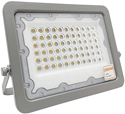 Foco LED Exterior OSRAM 30W 50W 100W 150W 200W, IP65 Luz Natural 4000K, Proyector AVANT Slim para terraza, jardin, patio. (50)