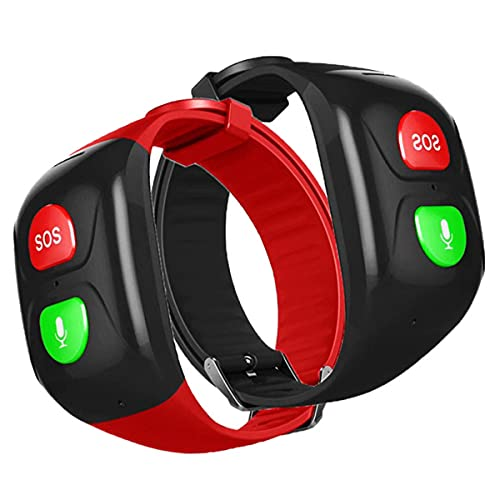 Reloj Inteligente para Personas Mayores, Cuidado De Ancianos Regalo para Padres Reloj GPS Pulsera GPS BotóN Sos 24 Horas Rastreador En Tiempo Real Valla EléCtrica Marcador AutomáTico,Negro