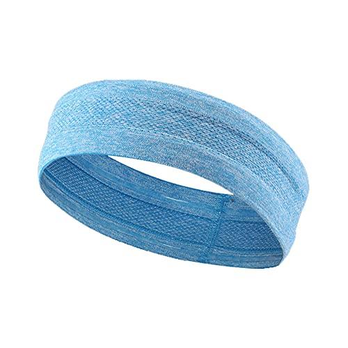 FEILEC Cinta para la frente deportiva que absorbe el sudor para correr, antideslizante, para fitness, yoga, baloncesto, cinta elástica para el pelo, 24 x 4,5 cm (azul)