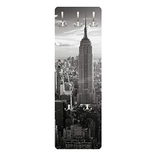 WTD WandTattoo 67519 Manhattan Skyline - Perchero (Madera de Fibra Vulcanizada de Densidad Media), diseño de la Silueta de los Edificios de Manhattan