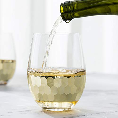 MyGift Glass & Gold-Tone Hammered Design Stemless Wine Glasses, Set of 4