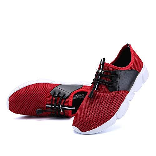 Zapatillas para hombre con cordones para correr, ligeras, absorción de golpes, ejercicio...