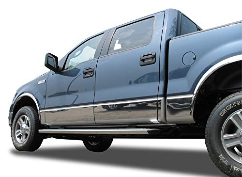 Made in USA! Compatible with 2007-2013 GMC Sierra Crew Cab 6.8' Short Bed Rocker Panel Chrome Stainless Steel Body Side Moulding Molding Trim Cover 9' Wide 14PC