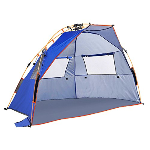 Qwest 2-3 Person Easy Instant Pop Up Park & Beach Tent, Premium Half-Dome Sun Shade Shelter Extra Large Tent, Anti-UV Waterproof Windproof Lightweight, Sets Up in Seconds