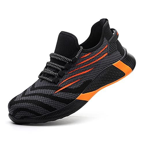 Aingrirn Zapatillas de Seguridad Hombr Mujer Zapatillas de Trabajo con Punta de Acero Ultraligero Transpirables Industria y Construcción Zapatos (Color : Orange, Size : 45 EU)