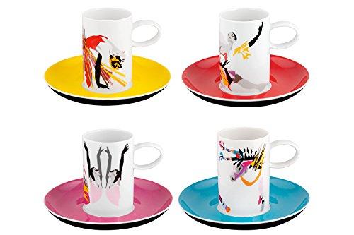 Vista Alegre Conjunto 4 Tazas Café c/Platillo Tchaikovsky Porcelana