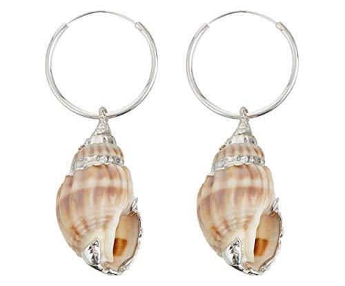 Gemshine Maritim Nautics Ohrringe Muschel Ohrhänger in 925 Silber hochwertig verarbeitet. Nachhaltiger, Fair Trade, Ethischer Schmuck Made in Spain
