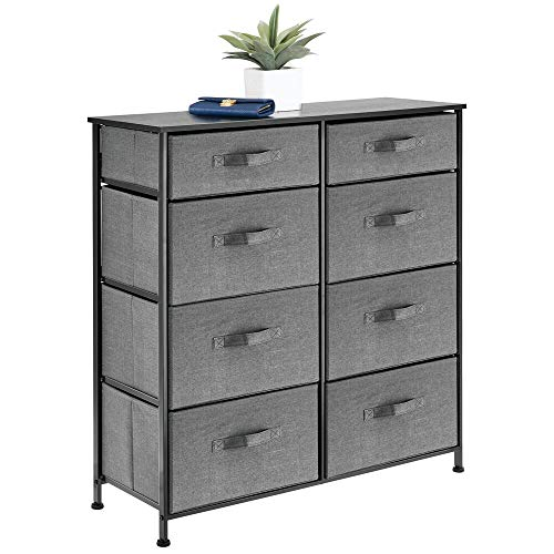 mDesign Vertical Furniture Storage Tower - Sturdy Steel Frame, Easy Pull Fabric Bins - Organizer Unit for Bedroom, Hallway, Entryway, Closets - 8 Drawers - Charcoal Gray
