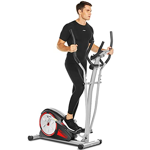 ANCHEER Elliptical Machines for Home Use, Magnetic Elliptical Training Machines with Pulse Rate Grips and LCD Monitor for Home Gym Exercise, Super Quiet Driven Easy to Move and Store (Black)