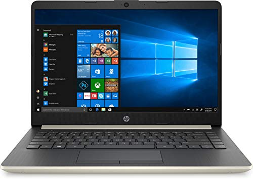 HP 14 Slim Laptop, 14' HD Display, Ryzen 3 3200U, AMD Radeon Vega 3 Graphics, 4GB, 128GB SSD, Pale Gold, 14-dk0024wm