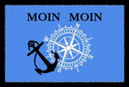 Fußmatte / Fussmatte Fussabstreifer / Schmutzfangmatte Moin Moin maritim typisch Norddeutsch Norddeutschland mit Kompass und Anker für jeden Seemann / ca 40 x 60 cm