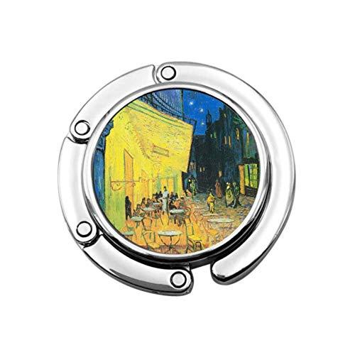 Cafe Terrace At Night By Vincent Van Gogh Colgador de bolsos para mesa Bolsos de mano Colgador para mesa Diseños únicos Sección plegable Almacenamiento Bolso Gancho Colgador de mesa