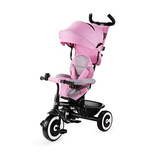 Kinderkraft Aston - Triciclo, Passeggino con Maniglione, Accessori, per Bambini, 9 Mesi - 5 Anni, Rosa