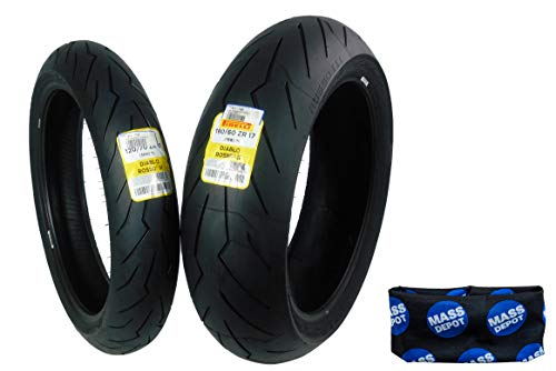 Pirelli Diablo Rosso III Front & Rear Street Sport Motorcycle Tires Rosso Three Rosso 3 (120/70ZR17 180/60ZR17)