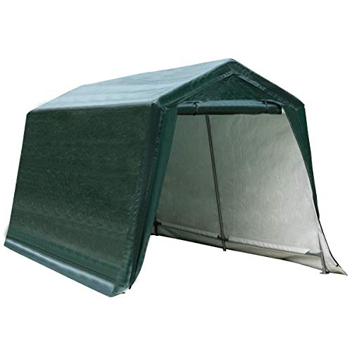 Tangkula 10 Ft x 10 Ft Outdoor Carport Patio Storage Shelter, Heavy Duty Enclosed Carport Shed w/All-Steel Metal Frame and Waterproof Ripstop Cover, Outdoor Garage Tent with Sidewalls (10 Ft x 10 Ft)