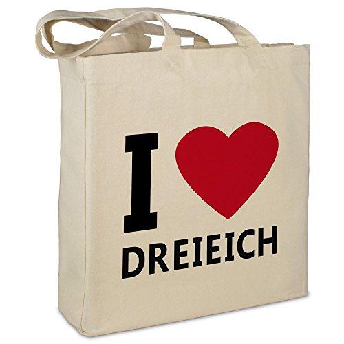 Stofftasche mit Stadt/Ort 'Dreieich ' - Motiv I Love - Farbe beige - Stoffbeutel, Jutebeutel, Einkaufstasche,...