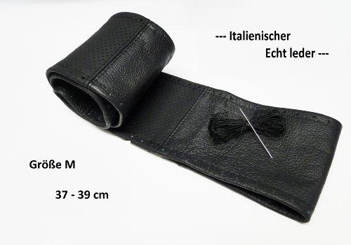 Lenkradbezug-Lenkradschoner schwarz teil gelocht echt Leder 37-39 cm zum selber Schnüren TOP