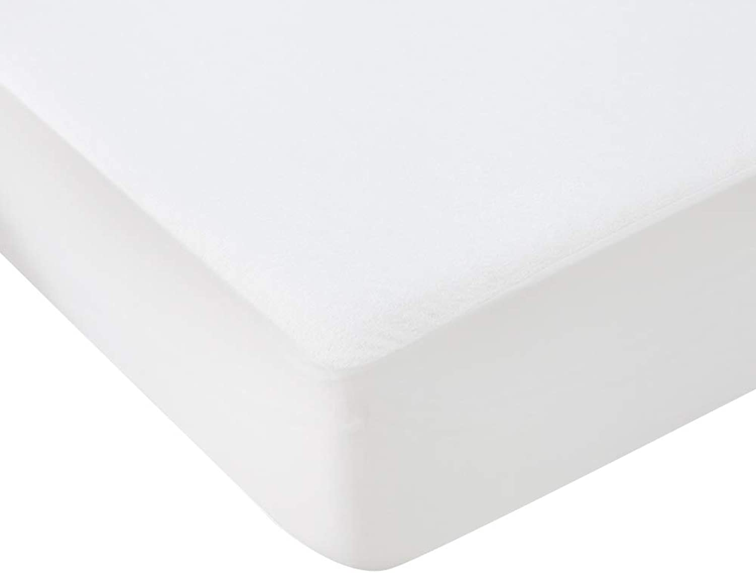 ZHAOHUI Mattress Predector Cotton Waterproof Noiseless Soft Skin-Friendly Moisture Absorption Dust-Proof Anti-Urine Breathable, 2 Sizes (color   White, Size   150X200cm)