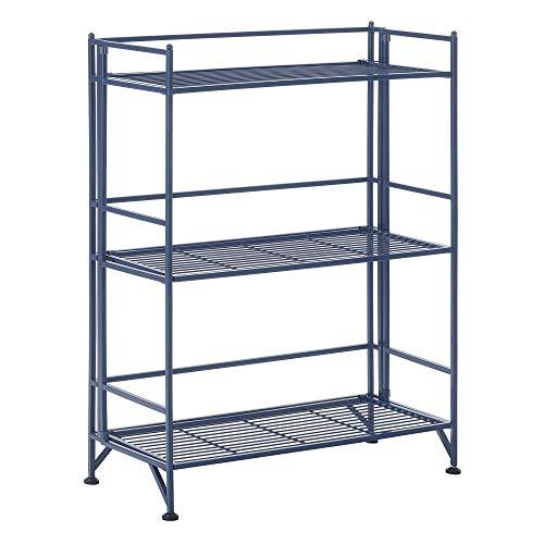 Convenience Concepts Xtra Storage 3-Tier Wide Folding Metal Shelf, Cobalt Blue