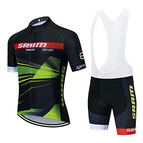 Completo da Ciclismo Uomo, Abbigliamento da Ciclismo Estivo Maglia Maniche Corte + Salopette con 3D Gel Cuscino Traspirante e Asciugatura Rapida per MTB Bici da Corsa Bici da Strada ect