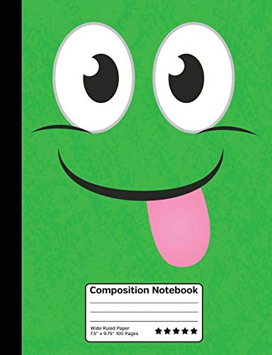 Funny Green Emoticon Stick Out Your Tongue Composition Notebook: Wide Ruled Line Paper Student Notebook for School, Journaling or Personal Use.