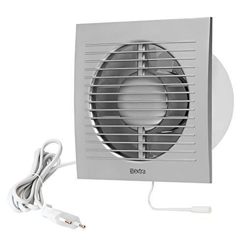 Ø 100mm Wandventilator Lüfter Abluft Kabel Schalter Ventilator Küche WC Bad mit stecker, Farbe - Silber