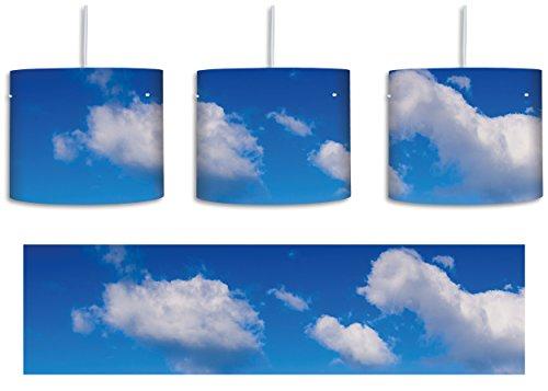 Wolken am blauen Himmel inkl. Lampenfassung E27, Lampe mit Motivdruck, tolle Deckenlampe, Hängelampe, Pendelleuchte - Durchmesser 30cm - Dekoration mit Licht ideal für Wohnzimmer, Kinderzimmer, Schlafzimmer