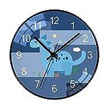 Decoración Serie forestal dinosaurio reloj de pared redondo moderno minimalista dormitorio pared reloj sala de estar mute pared reloj hogar fresco reloj de cuarzo 14 pulgadas Reloj de pared operado