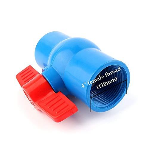 "WFAANW 1/2""-4""Blue Female Thread Big Size PVC Ball Valve Garden Irrigation Hose Connection Fittings Aquarium Switch Globe Valve (Color : 4 Inch female, Diameter : 3pcs)"